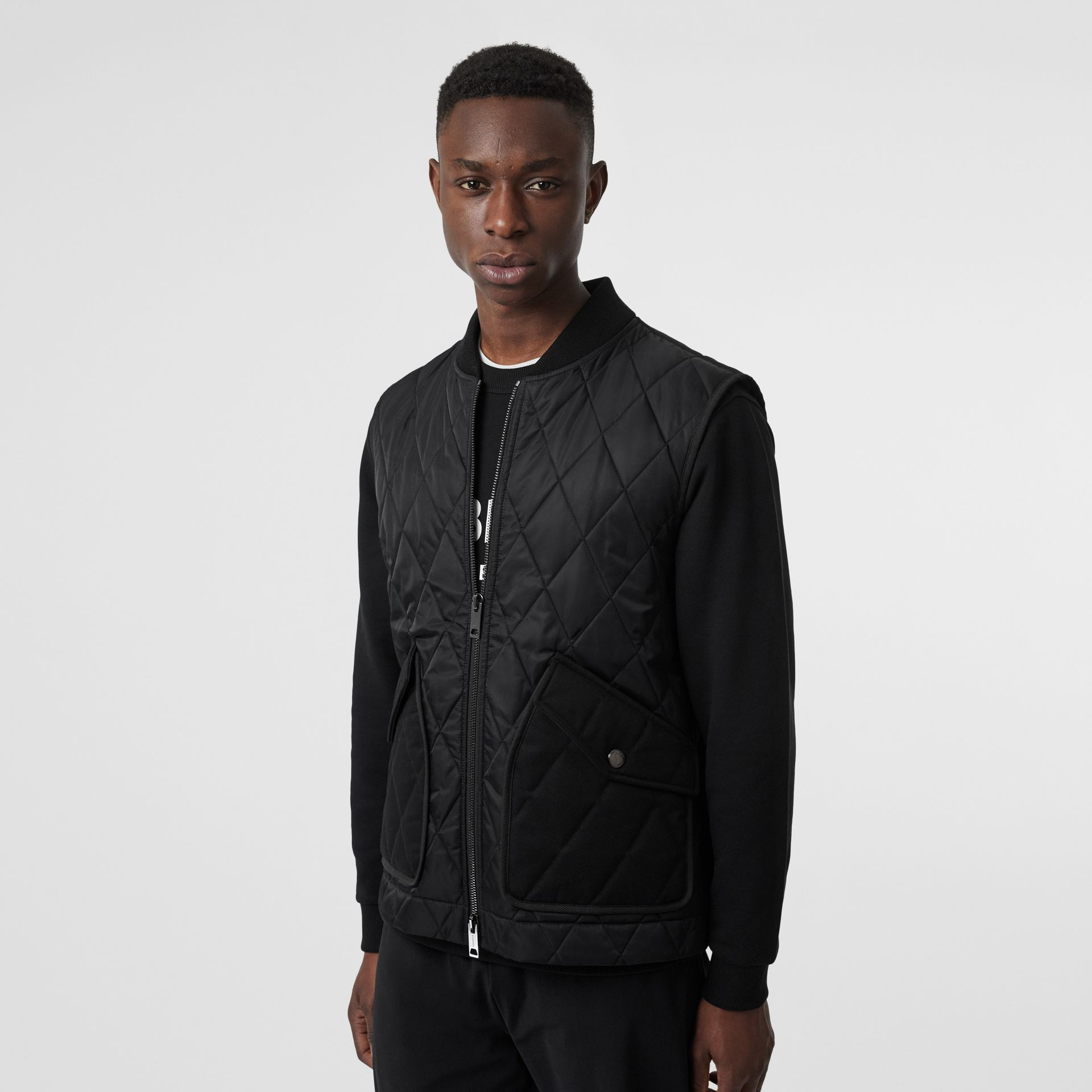 Monogram Motif Diamond Quilted Gilet in Black - Men | Burberry - gallery image 4