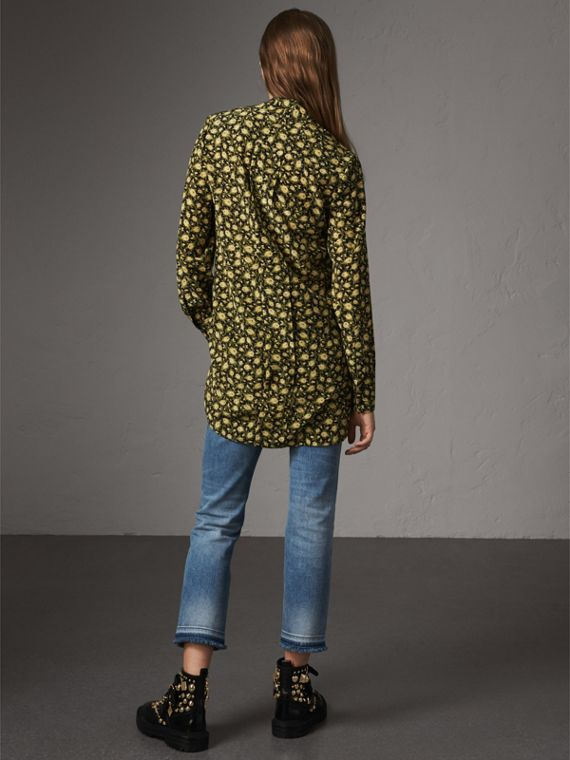 Pussy-bow Floral Silk Longline Blouse in Pale Saffron Yellow - Women | Burberry - cell image 2