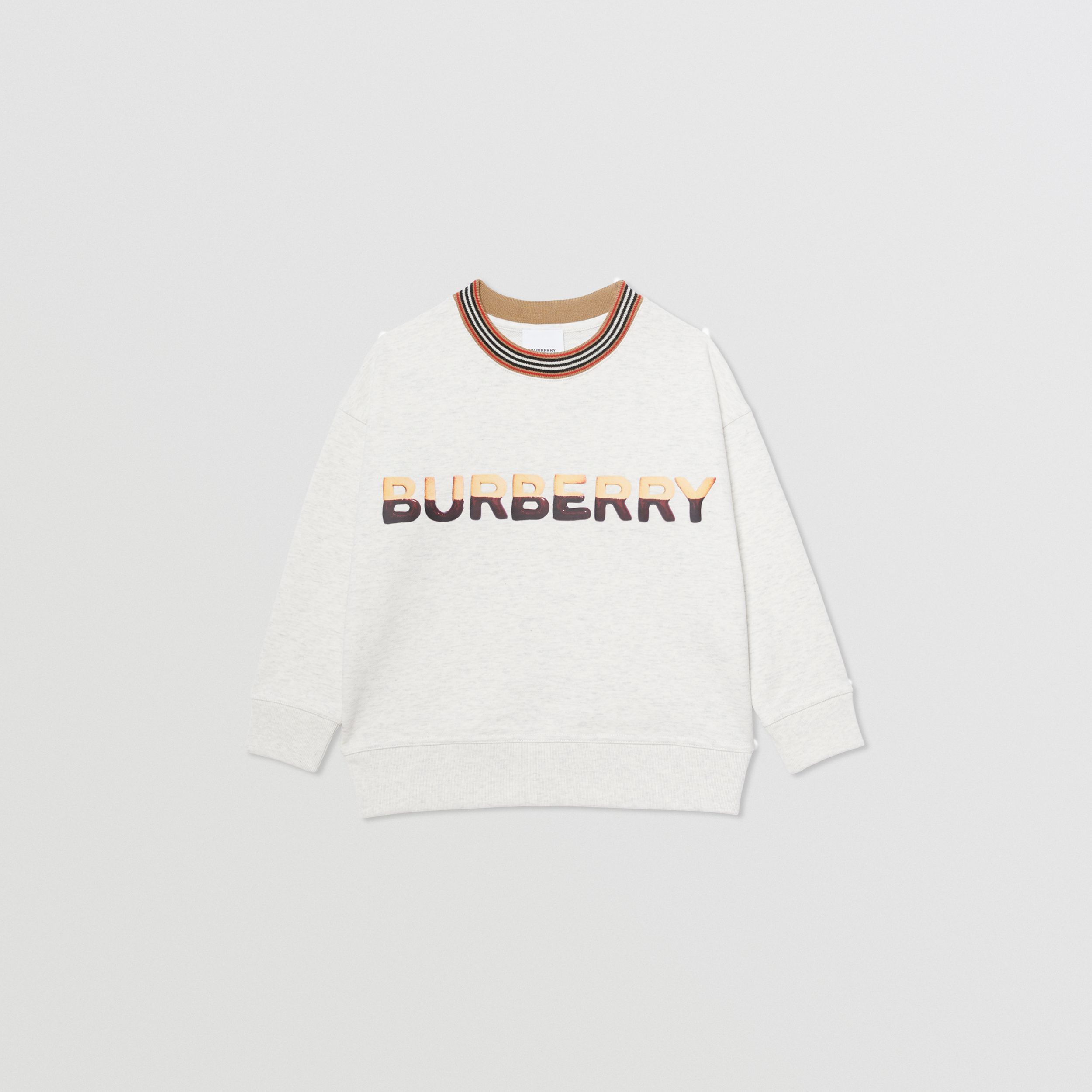 Confectionery Logo Print Cotton Sweatshirt in White Melange | Burberry - 1