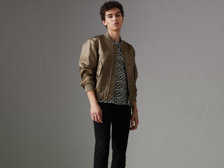 Satin Bomber Jacket in Dark Taupe - Men | Burberry - cell image 4