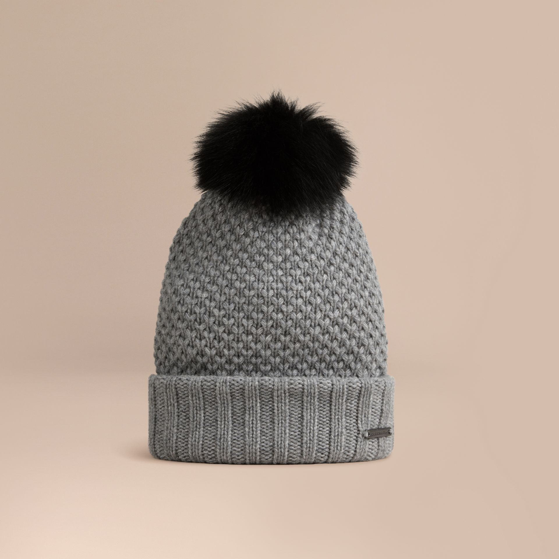Fur Pom-Pom Beanie in Mid Grey - Women | Burberry - gallery image 1