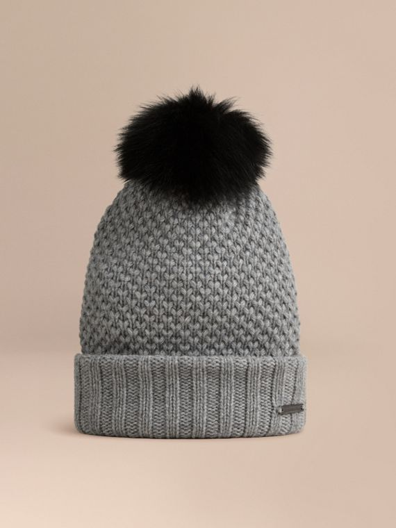 Fur Pom-Pom Beanie in Mid Grey