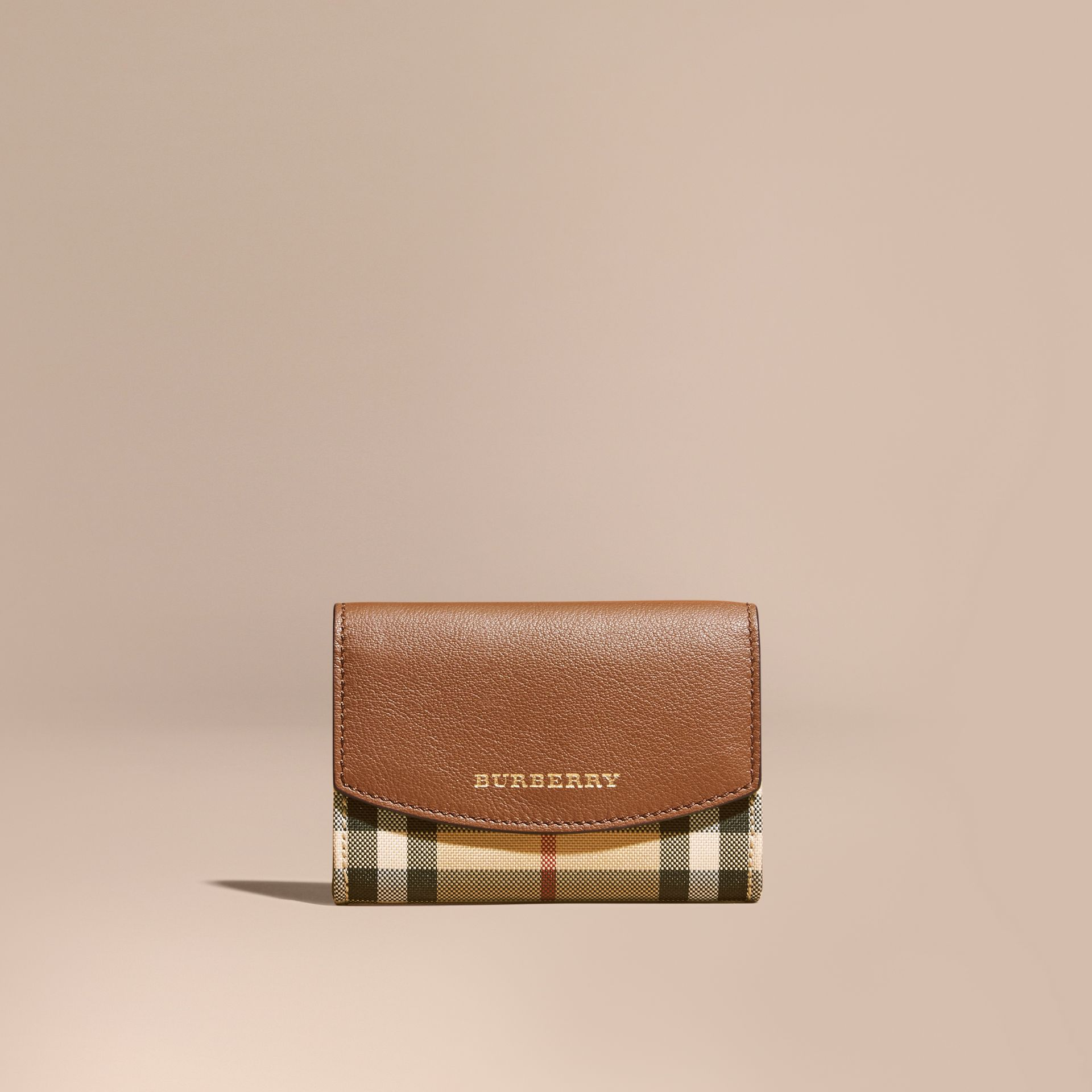 Horseferry Check and Leather Card Case in Tan - gallery image 6