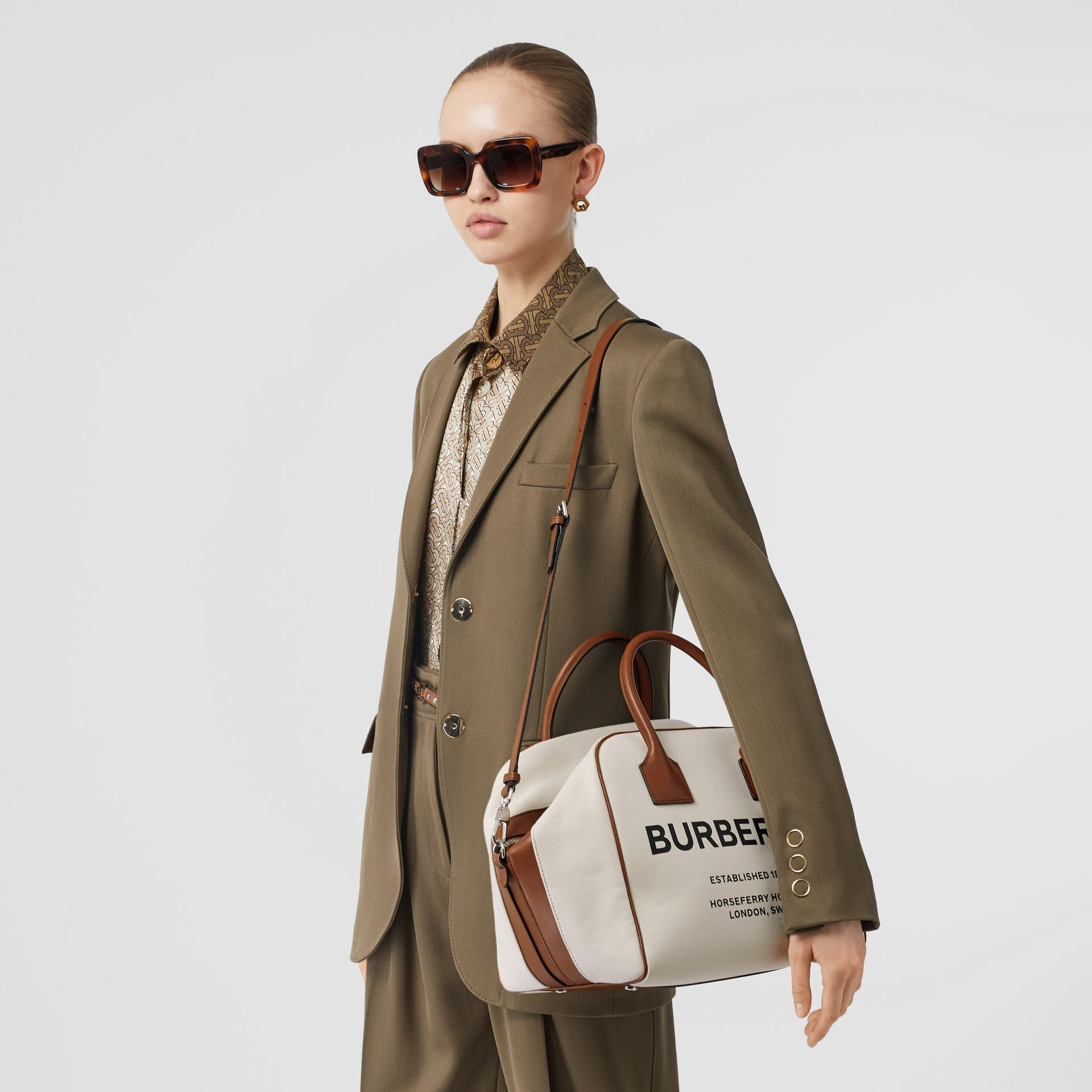 Medium Horseferry Print Canvas Cube Bag in Natural/malt Brown - Women | Burberry Australia - gallery image 3