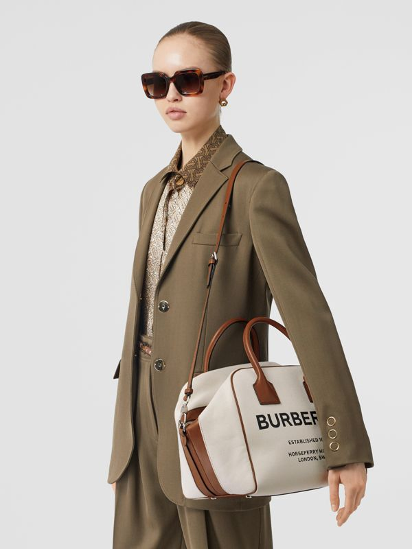 Medium Horseferry Print Canvas Cube Bag in Natural/malt Brown - Women | Burberry Australia - cell image 3