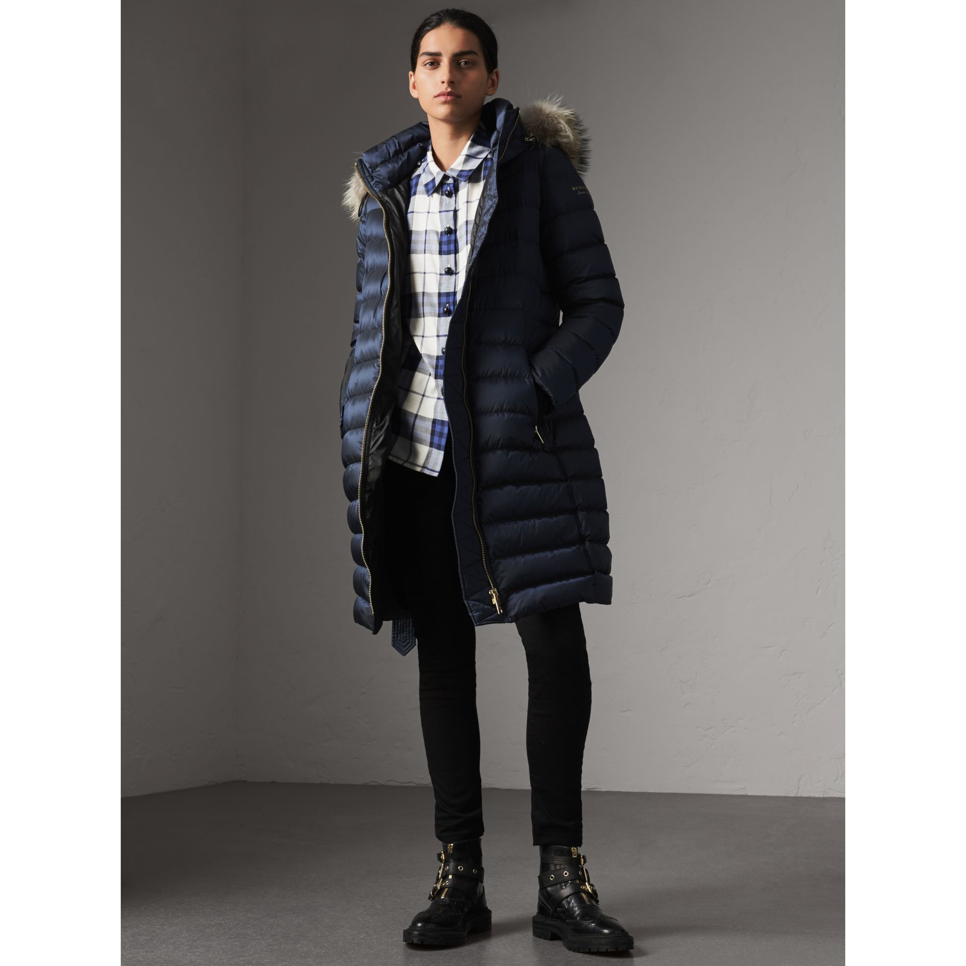 Detachable Fur Trim Down-filled Puffer Coat with Hood in Navy - Women | Burberry - gallery image 6