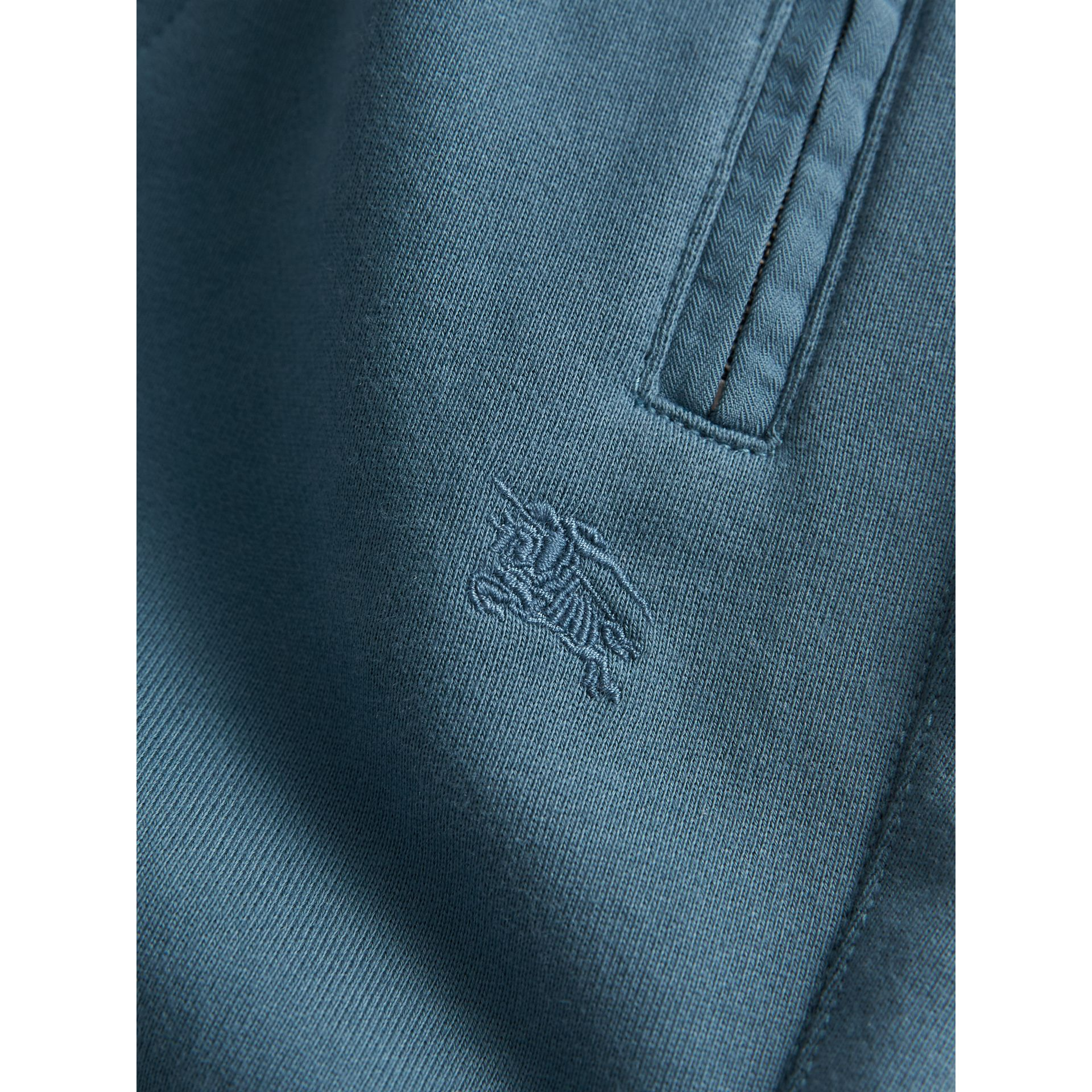 Drawcord Cotton Sweatpants in Pewter Blue | Burberry - gallery image 1