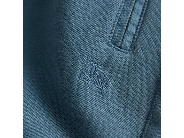 Drawcord Cotton Sweatpants in Pewter Blue | Burberry - cell image 1