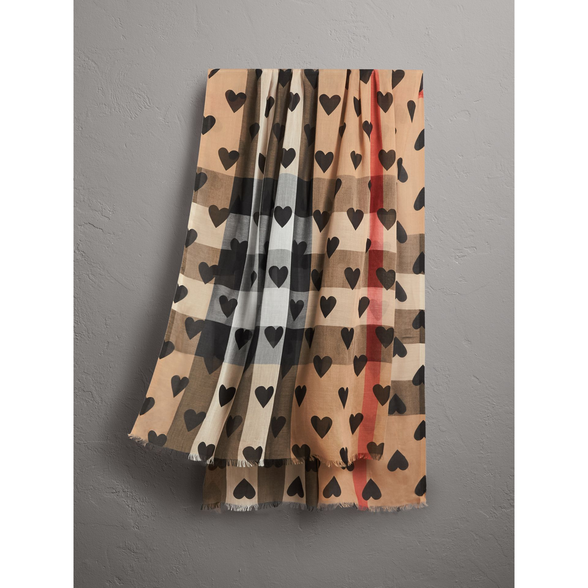 heart and check modal and cashmere scarf in camel black women burberry canada. Black Bedroom Furniture Sets. Home Design Ideas