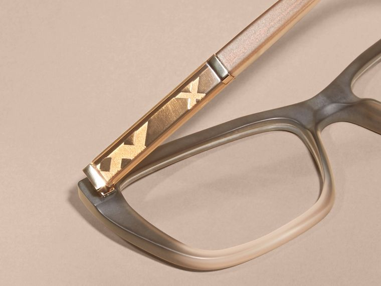 Carnation melange Check Detail Rectangular Cat-eye Optical Frames Carnation Melange - cell image 1