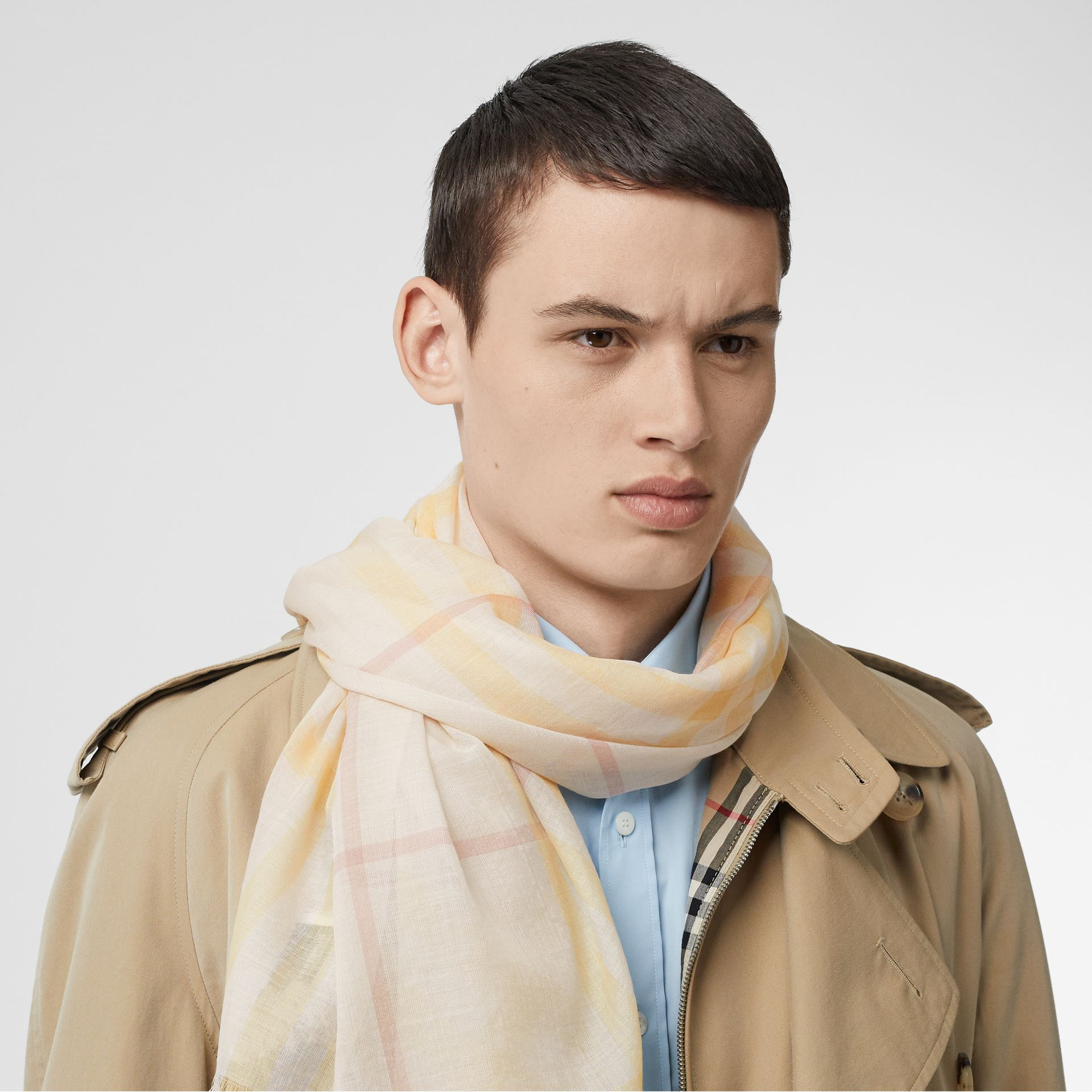Lightweight Check Wool and Silk Scarf in Primrose - Men | Burberry - gallery image 2