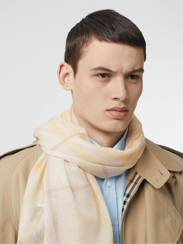 Lightweight Check Wool and Silk Scarf in Primrose - Men | Burberry - cell image 2