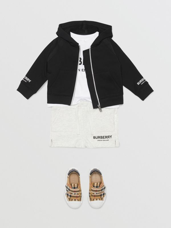 Logo Print Cotton Hooded Top in Black - Children | Burberry Australia - cell image 2
