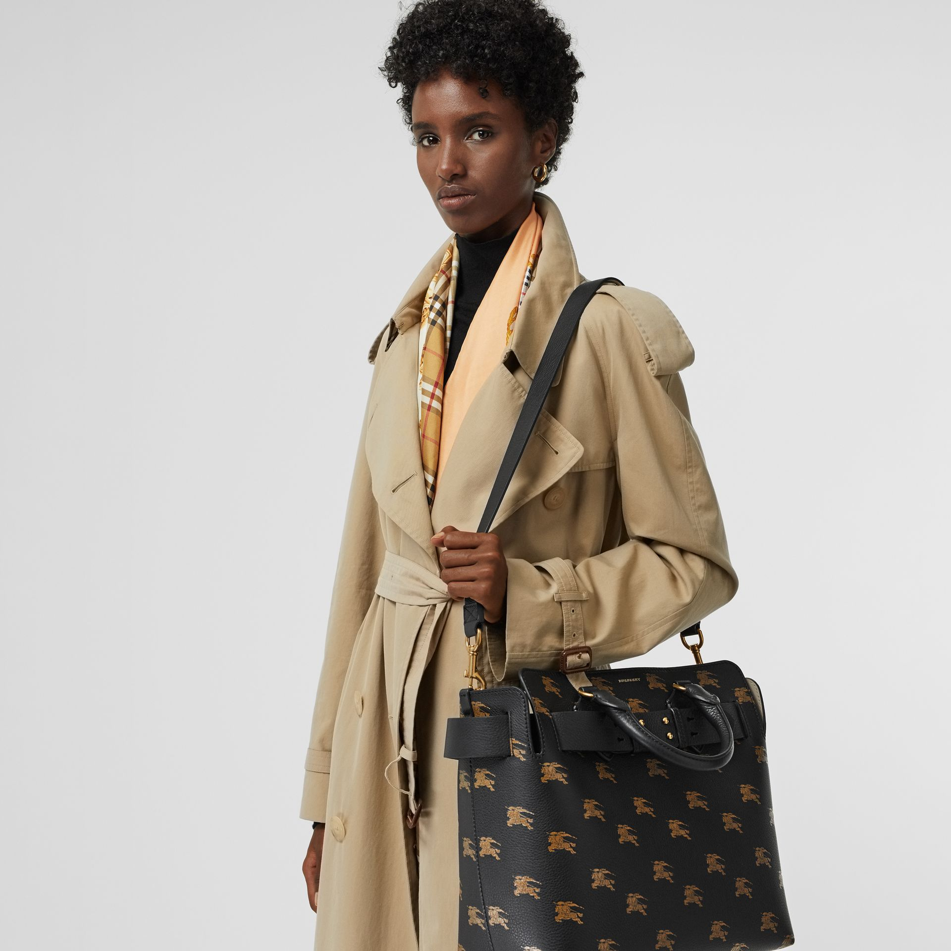 The Medium Equestrian Knight Leather Belt Bag in Black - Women | Burberry United States - gallery image 3