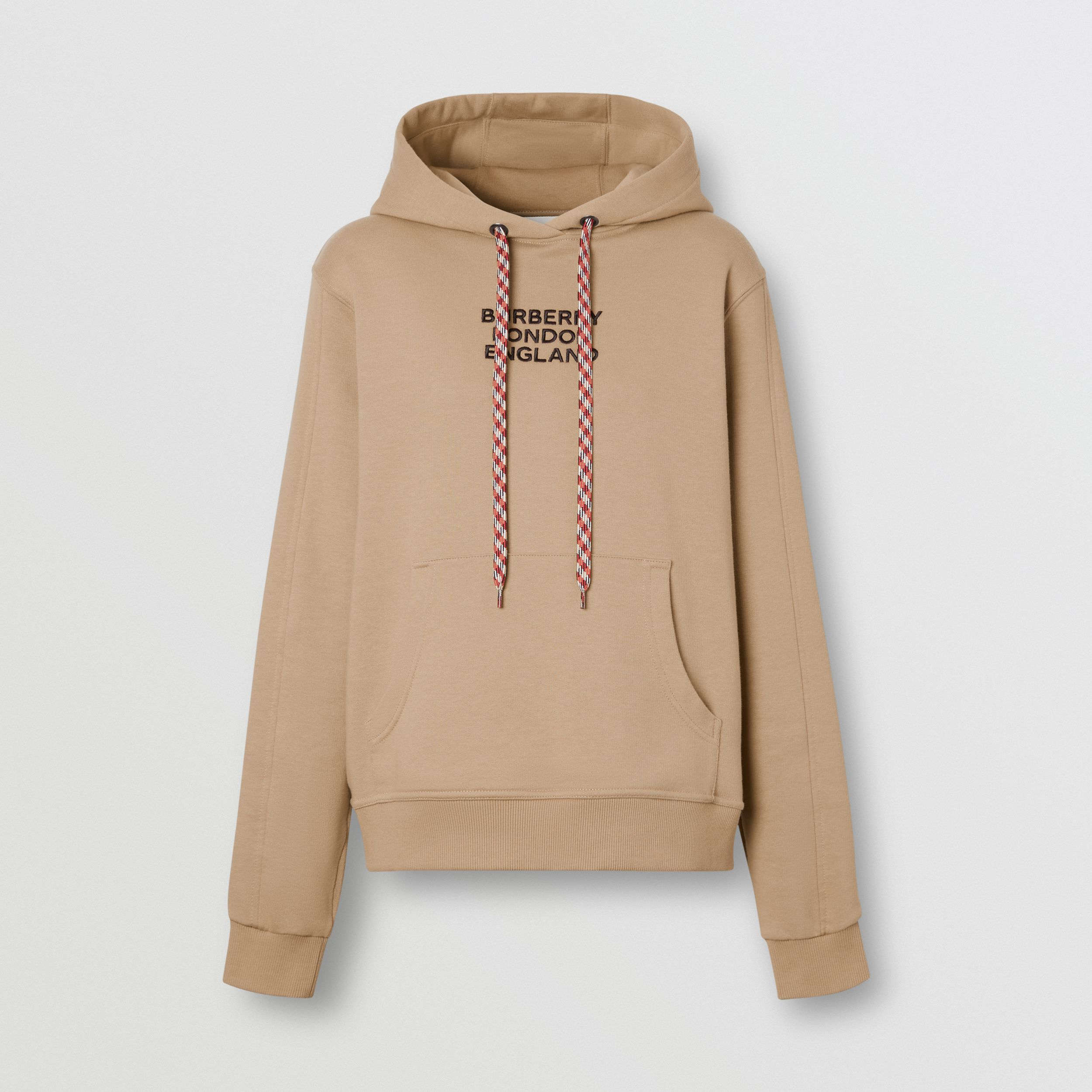Embroidered Logo Cotton Oversized Hoodie in Archive Beige - Women | Burberry United Kingdom - 4