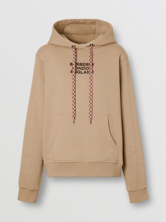 Embroidered Logo Cotton Oversized Hoodie in Archive Beige
