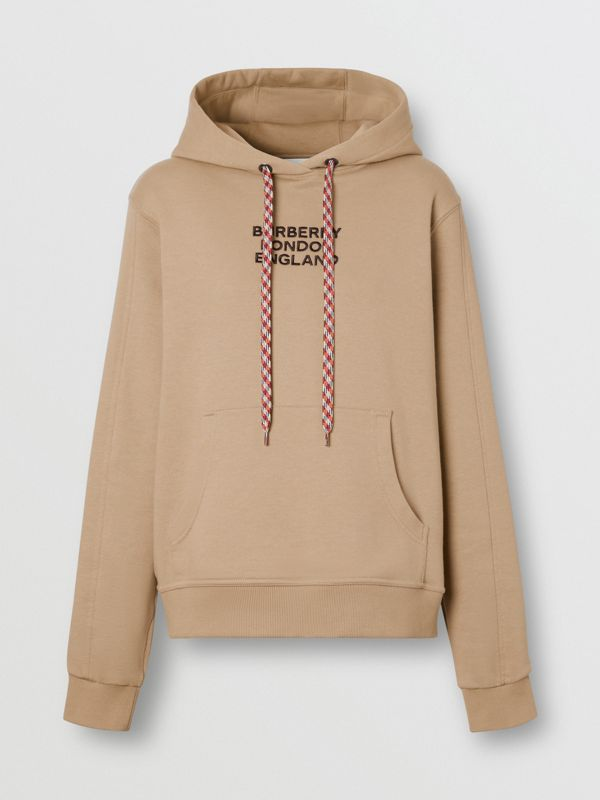 Embroidered Logo Cotton Oversized Hoodie in Archive Beige - Women | Burberry - cell image 3