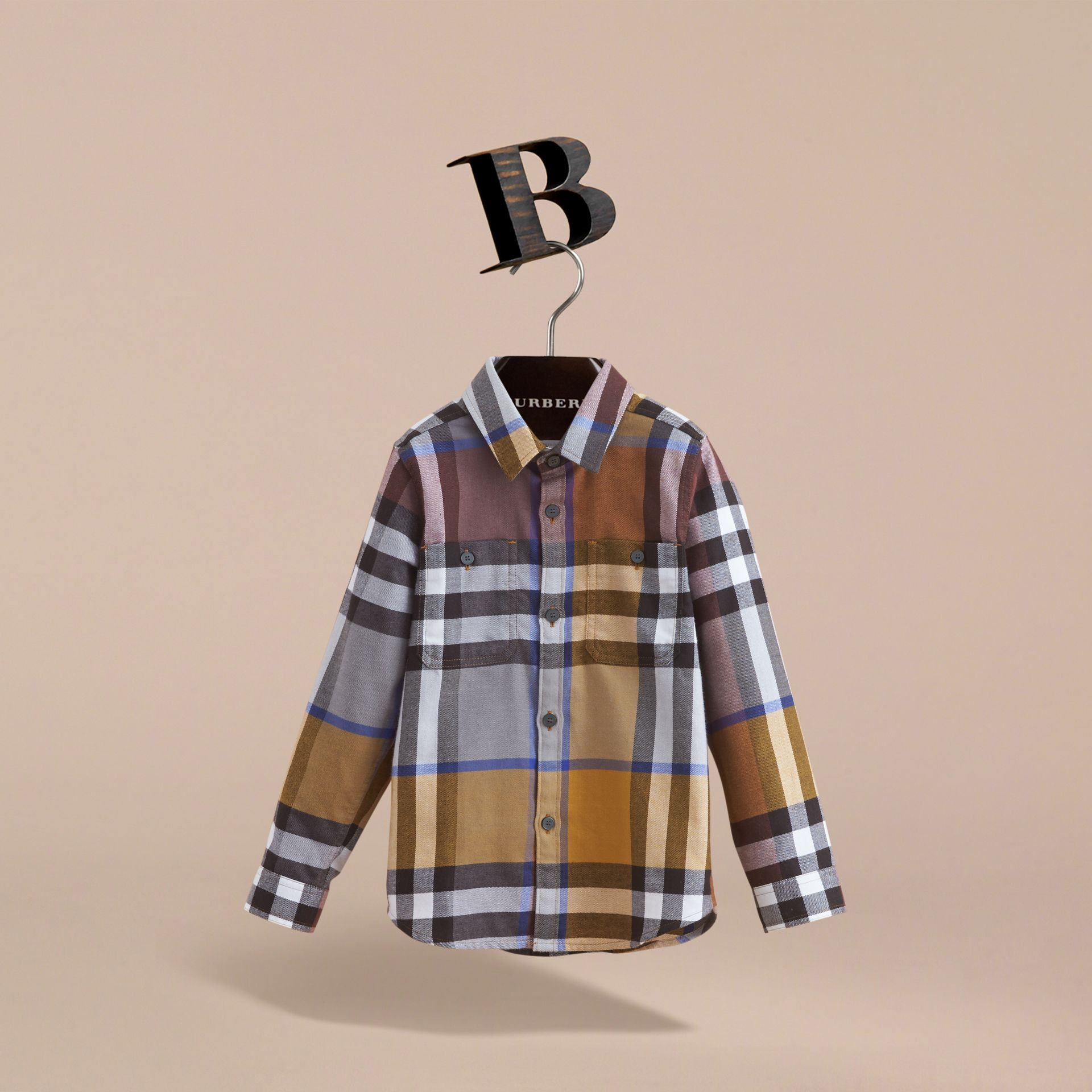 Pocket Detail Check Flannel Shirt in Ochre Yellow - Boy | Burberry - gallery image 3