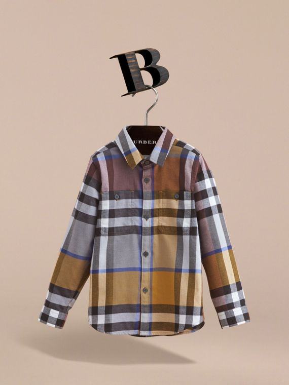 Pocket Detail Check Flannel Shirt in Ochre Yellow - Boy | Burberry - cell image 2
