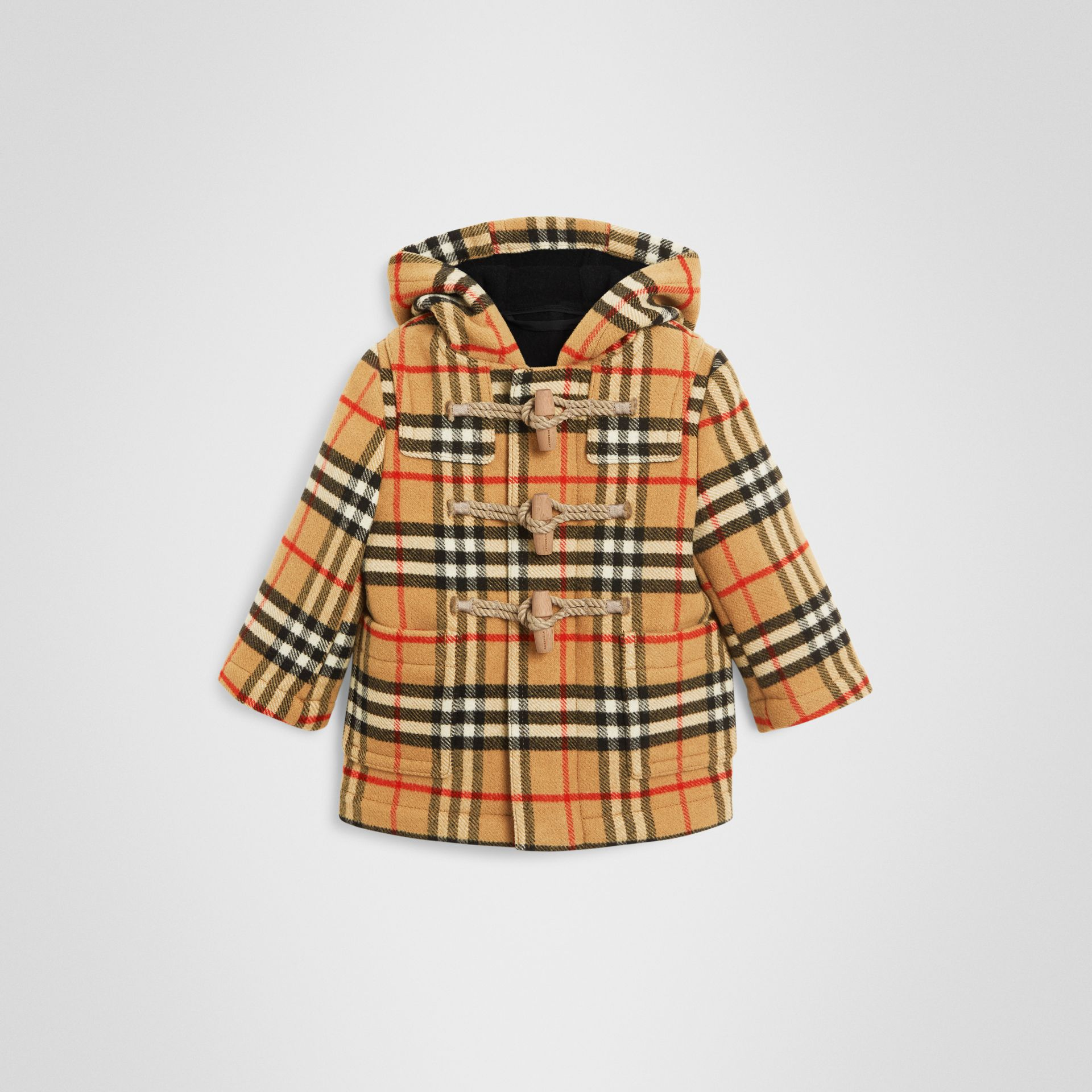 Vintage Check Wool Duffle Coat in Black - Children | Burberry - gallery image 0