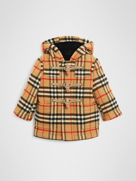 Duffle coat de lã em Vintage Check (Preto)