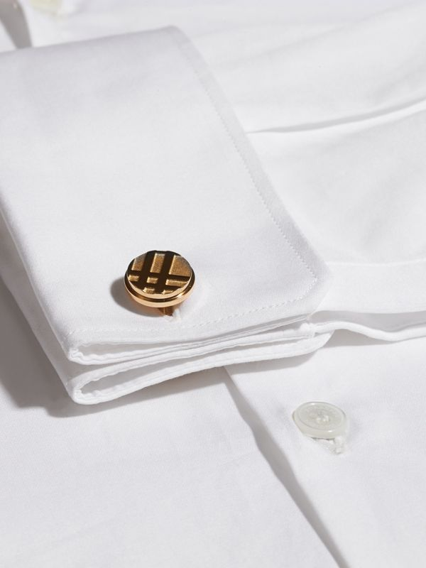 Check-engraved Round Cufflinks in Pale Gold - Men | Burberry United Kingdom - cell image 2