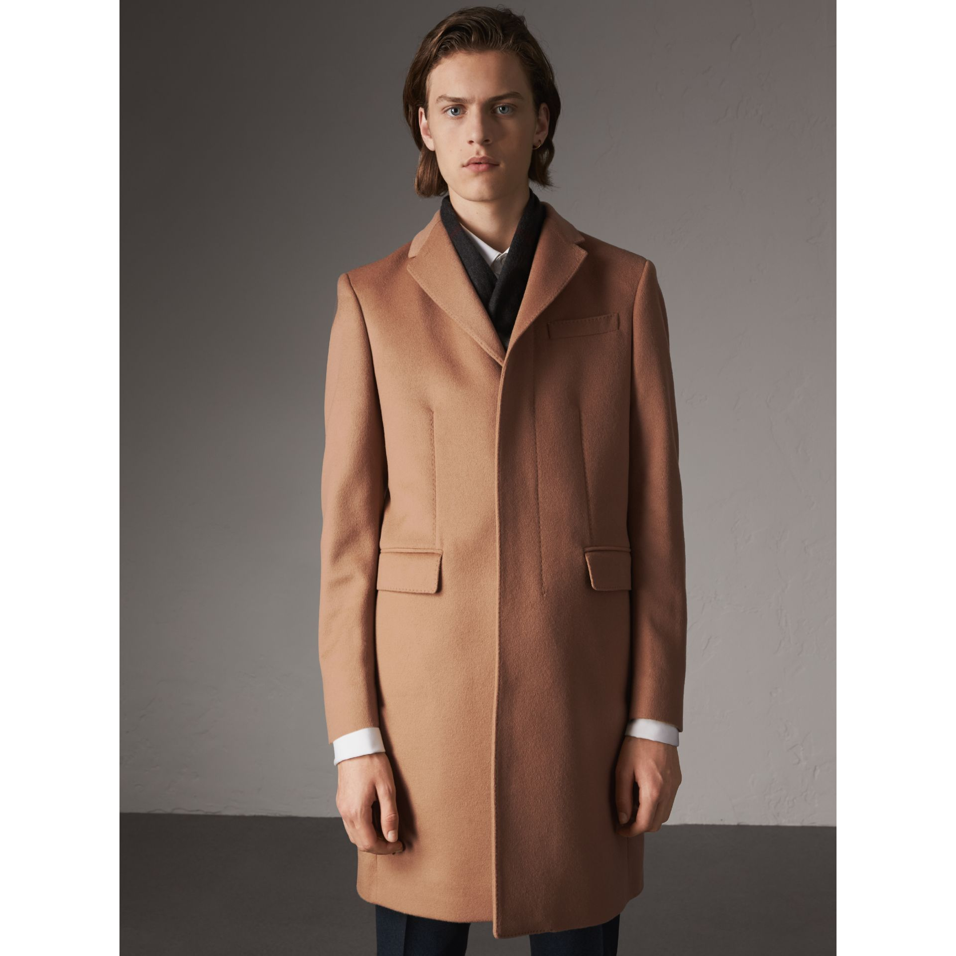 Wool Cashmere Tailored Coat in Camel - Men | Burberry - gallery image 1