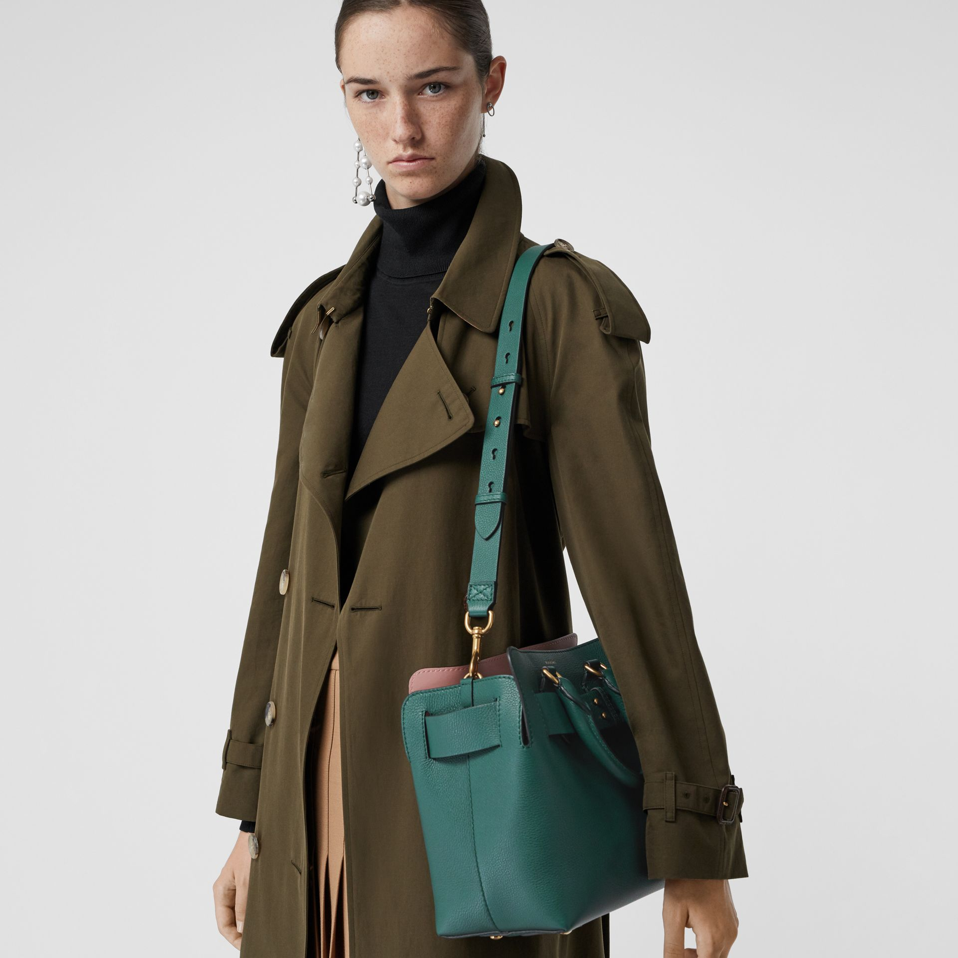 The Small Leather Belt Bag in Dark Cyan - Women | Burberry United Kingdom - gallery image 3