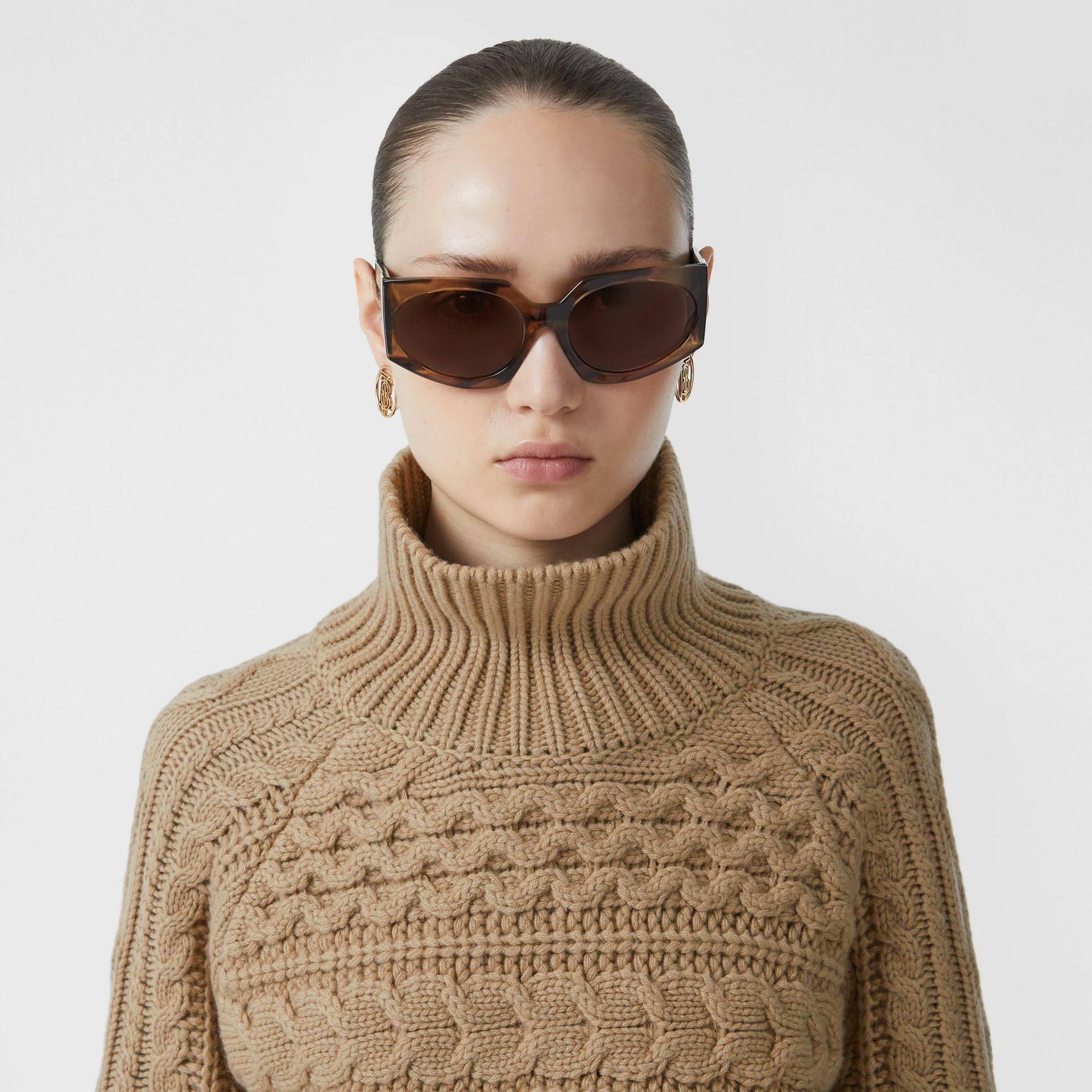 Icon Stripe Cuff Cable Knit Cashmere Sweater in Camel - Women | Burberry - gallery image 1
