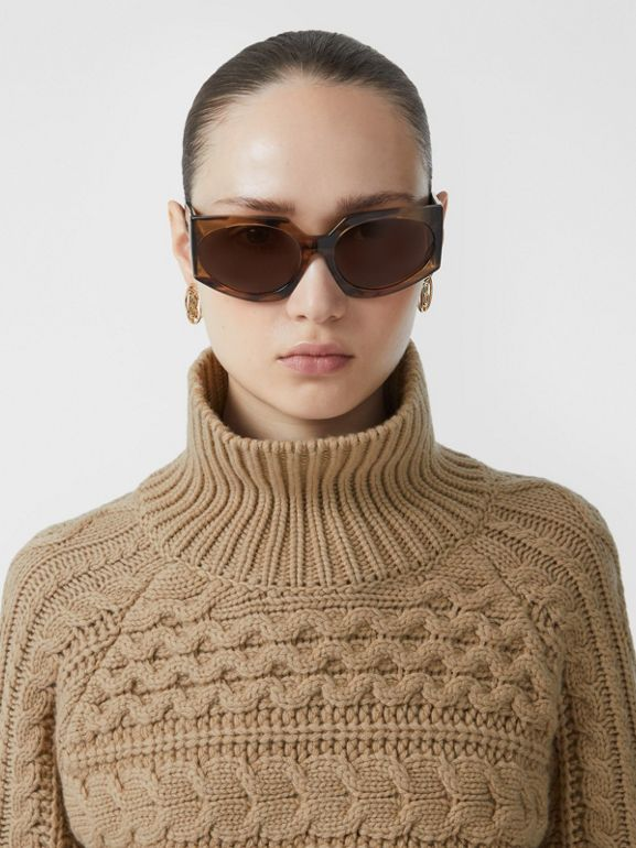 Icon Stripe Cuff Cable Knit Cashmere Sweater in Camel - Women | Burberry - cell image 1