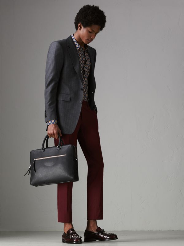 Grainy Leather Briefcase in Black - Men | Burberry United States - cell image 2