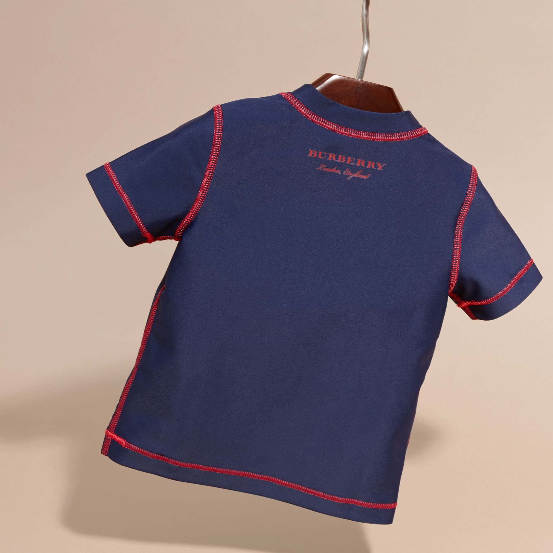 Contrast Topstitch Swim T-shirt in Navy | Burberry United Kingdom - gallery image 4