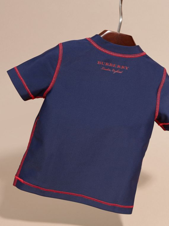 Contrast Topstitch Swim T-shirt in Navy | Burberry - cell image 3