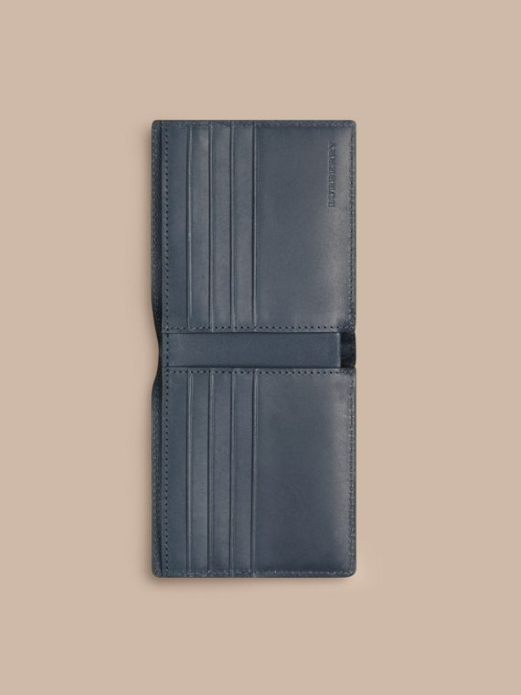 Steel blue Check-embossed Leather Folding Wallet Steel Blue - cell image 3
