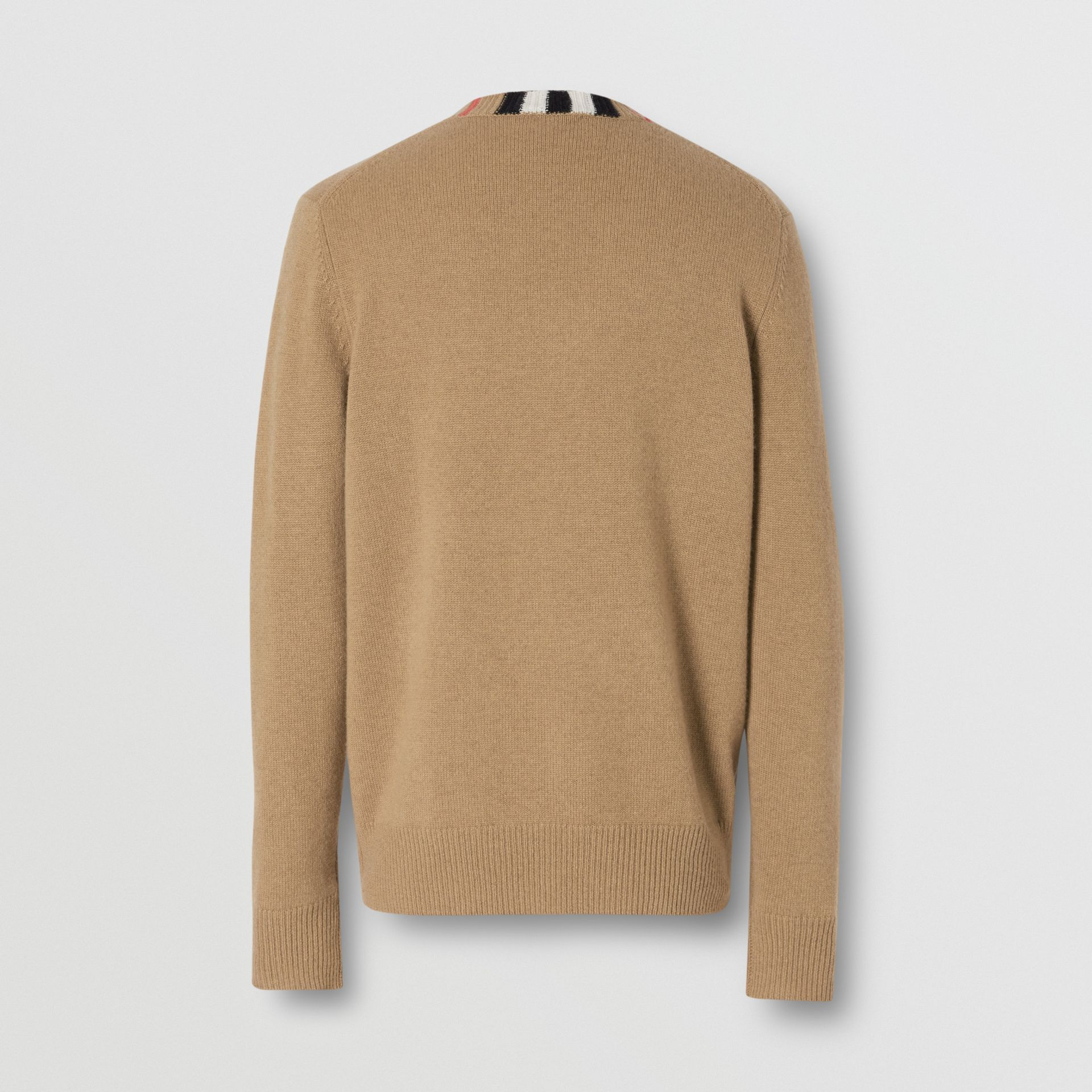 Icon Stripe Trim Cashmere Sweater in Camel - Men | Burberry - gallery image 6
