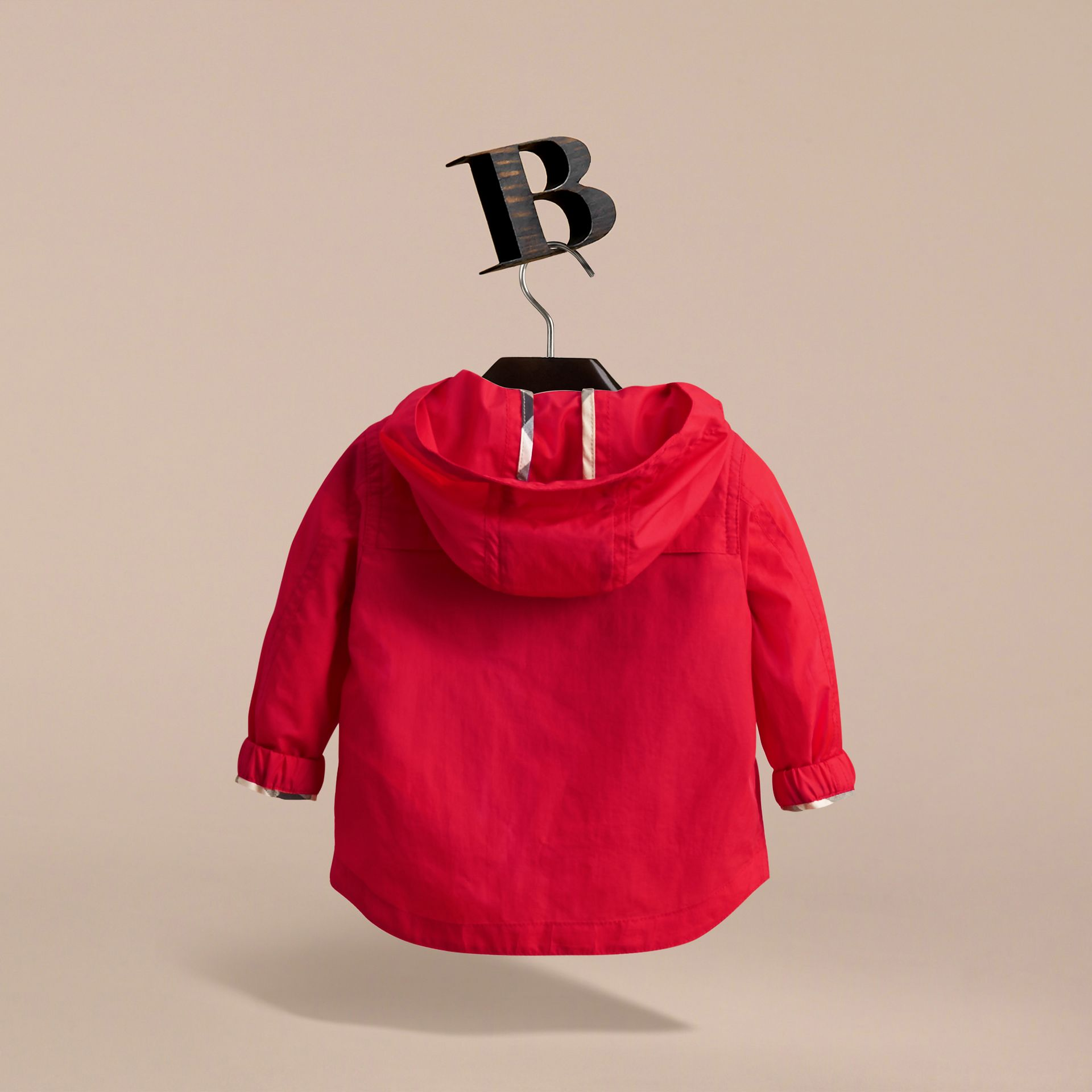Showerproof Hooded Technical Jacket in Vibrant Red | Burberry - gallery image 4