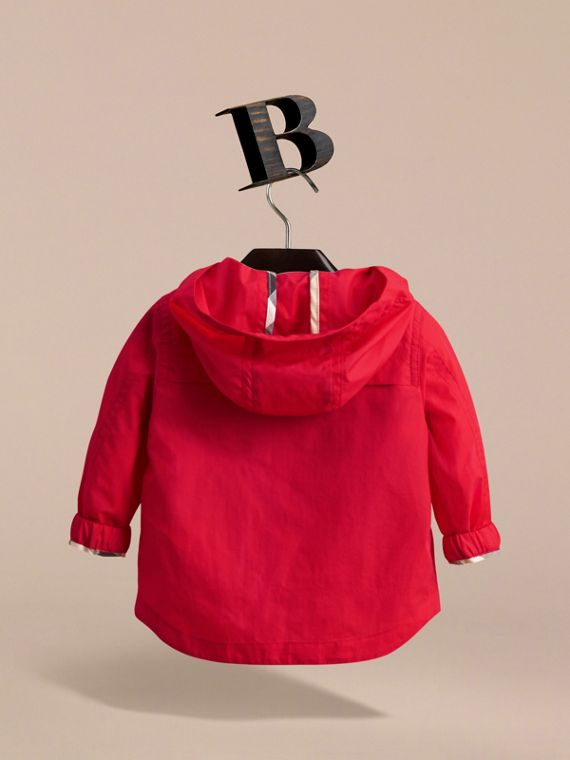 Showerproof Hooded Technical Jacket in Vibrant Red | Burberry - cell image 3
