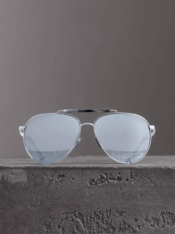 Top Bar Detail Pilot Sunglasses in Grey - Men | Burberry - cell image 3