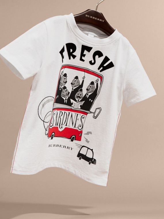 Fresh Sardines Motif Cotton T-shirt in White | Burberry Australia - cell image 2