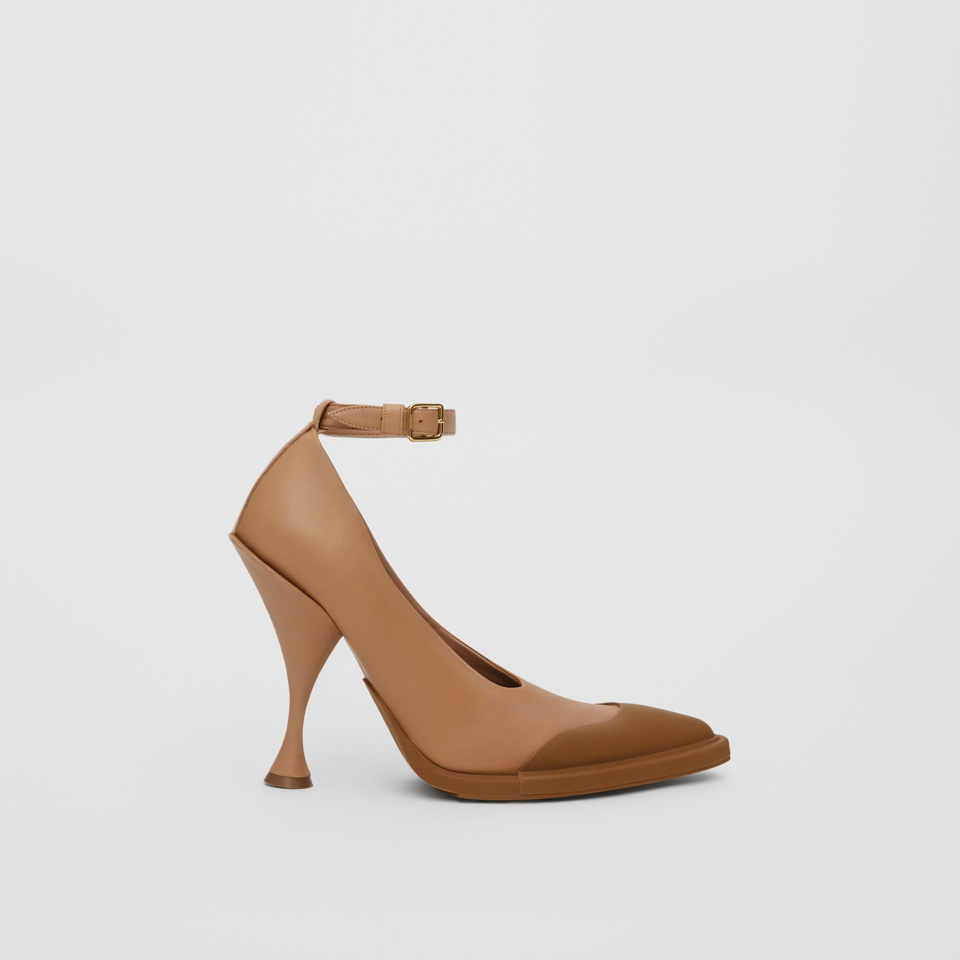 Toe Cap Detail Leather Point-toe Pumps in Soft Camel - Women | Burberry - gallery image 4