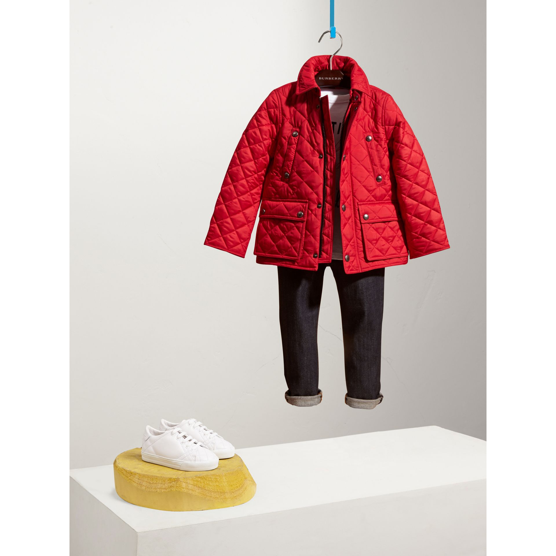 Detachable Hood Lightweight Quilted Jacket in Bright Cherry Red - Boy | Burberry United Kingdom - gallery image 1