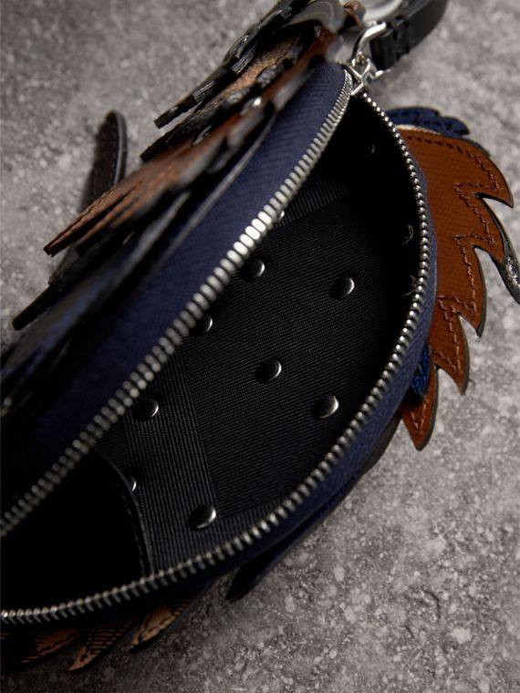The Bull – Leather and Check Pouch in Bright Lapis - Men | Burberry Singapore - cell image 3