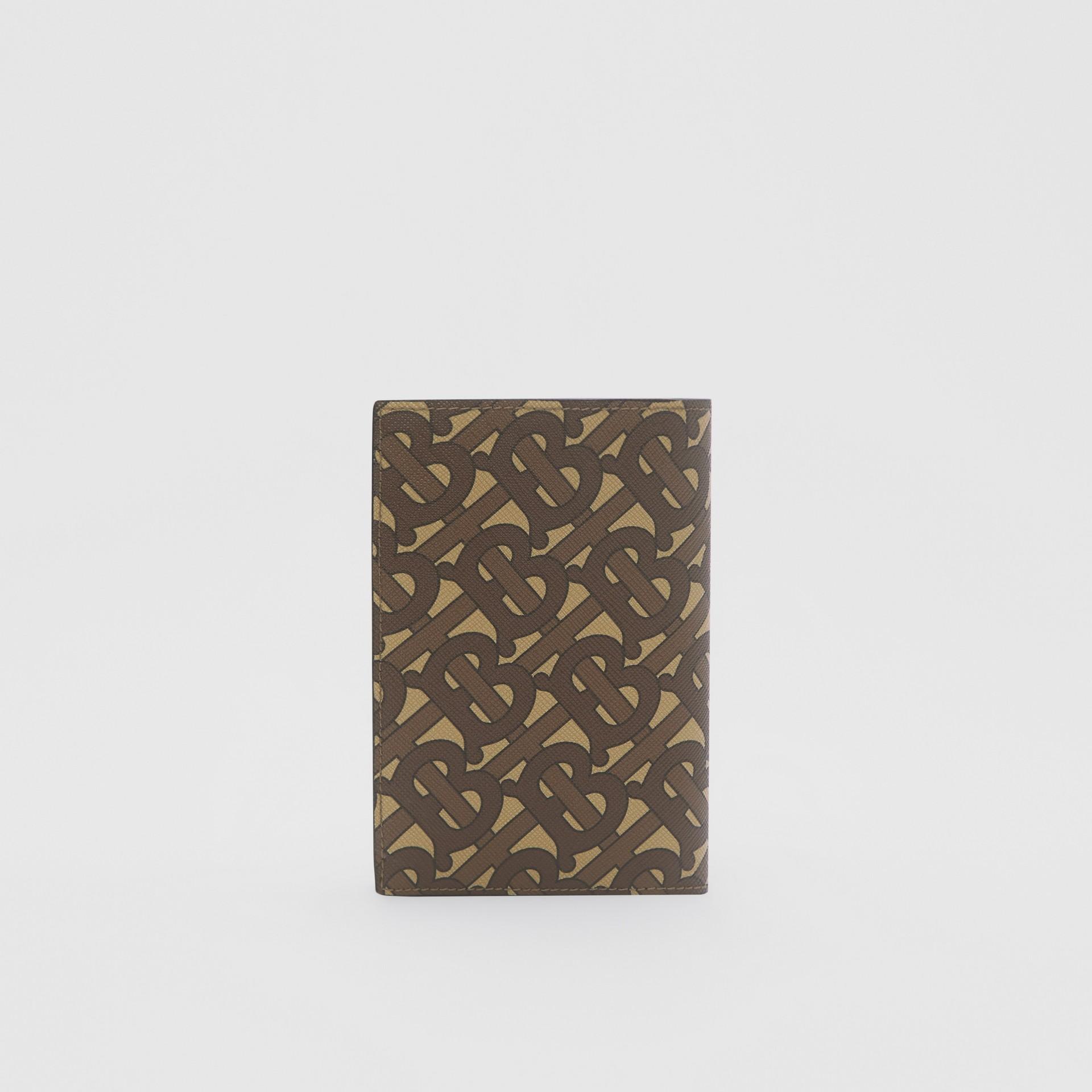 Porta-passaporte de lona ecológica com estampa de monograma (Castanho Couro) - Homens | Burberry - galeria de imagens 4