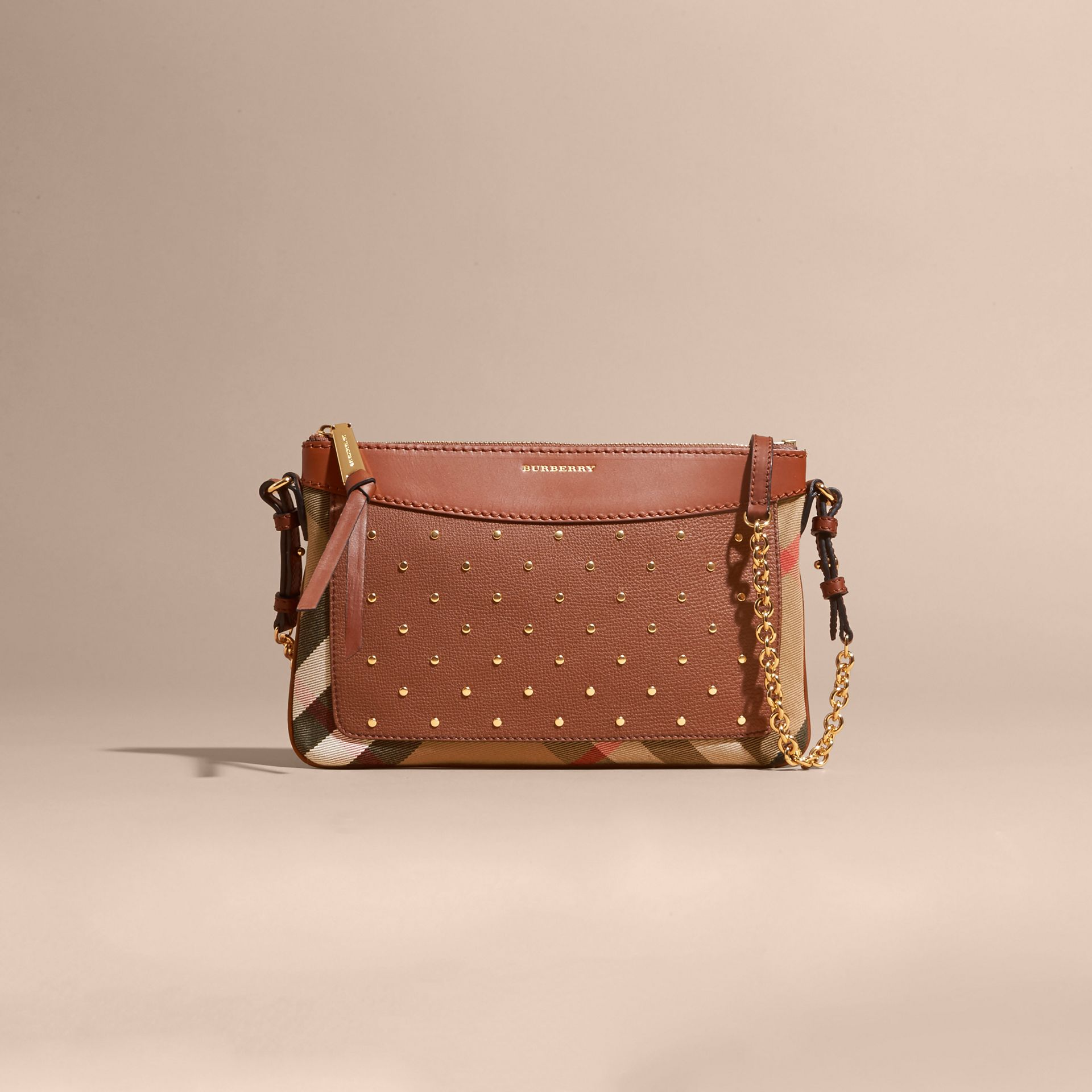 Riveted Leather and House Check Clutch Bag in Tan - gallery image 9