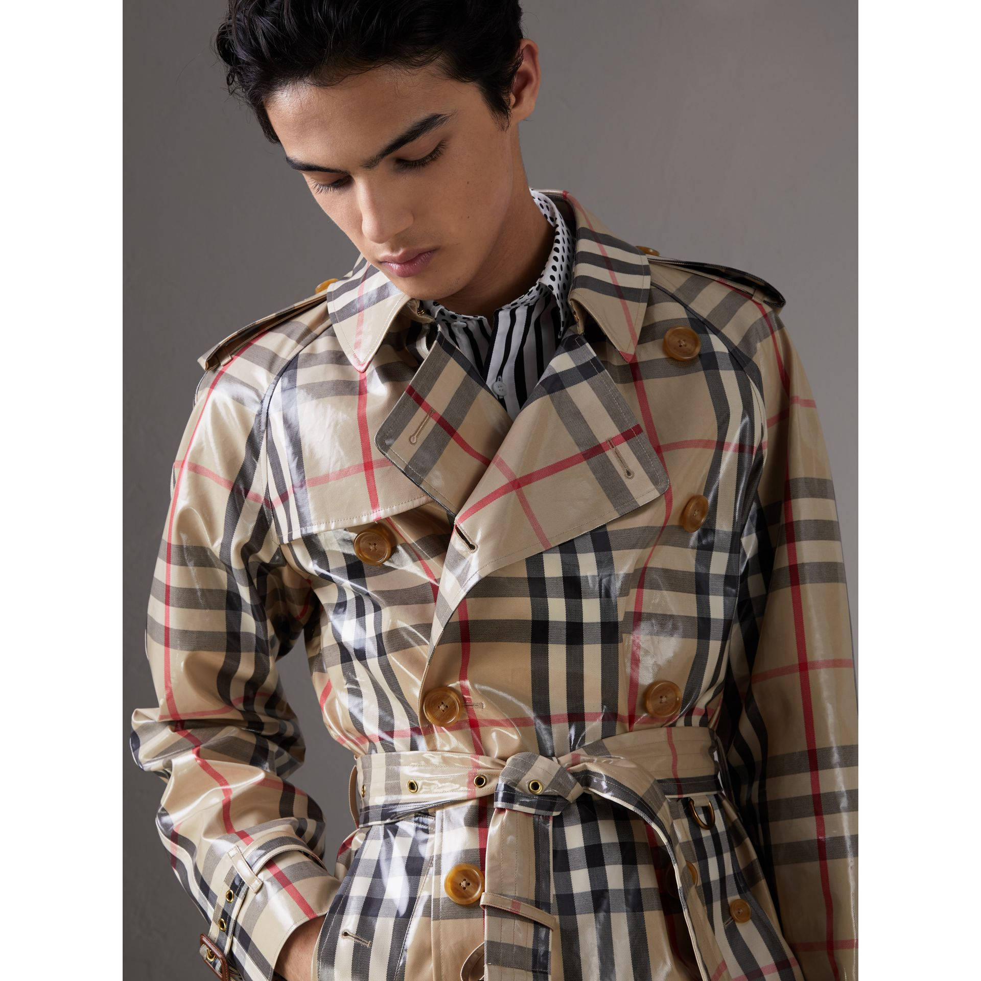 Laminated Check Cotton Trench Coat in New Classic - Men | Burberry - gallery image 5