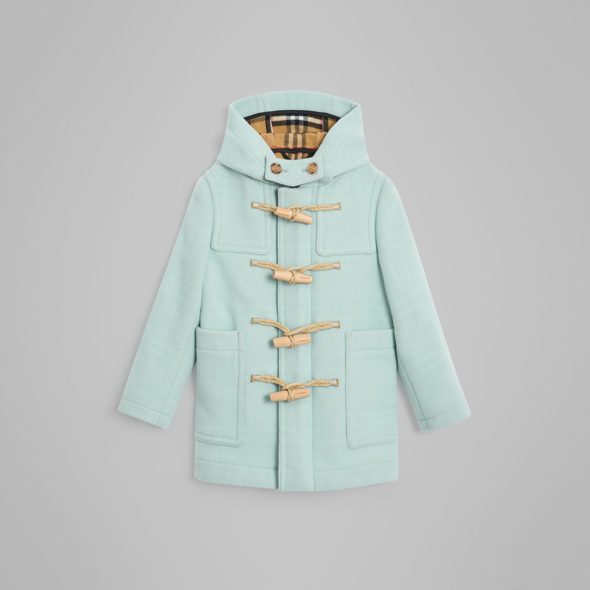 Double-faced Wool Duffle Coat in Pale Mint | Burberry Australia - gallery image 0