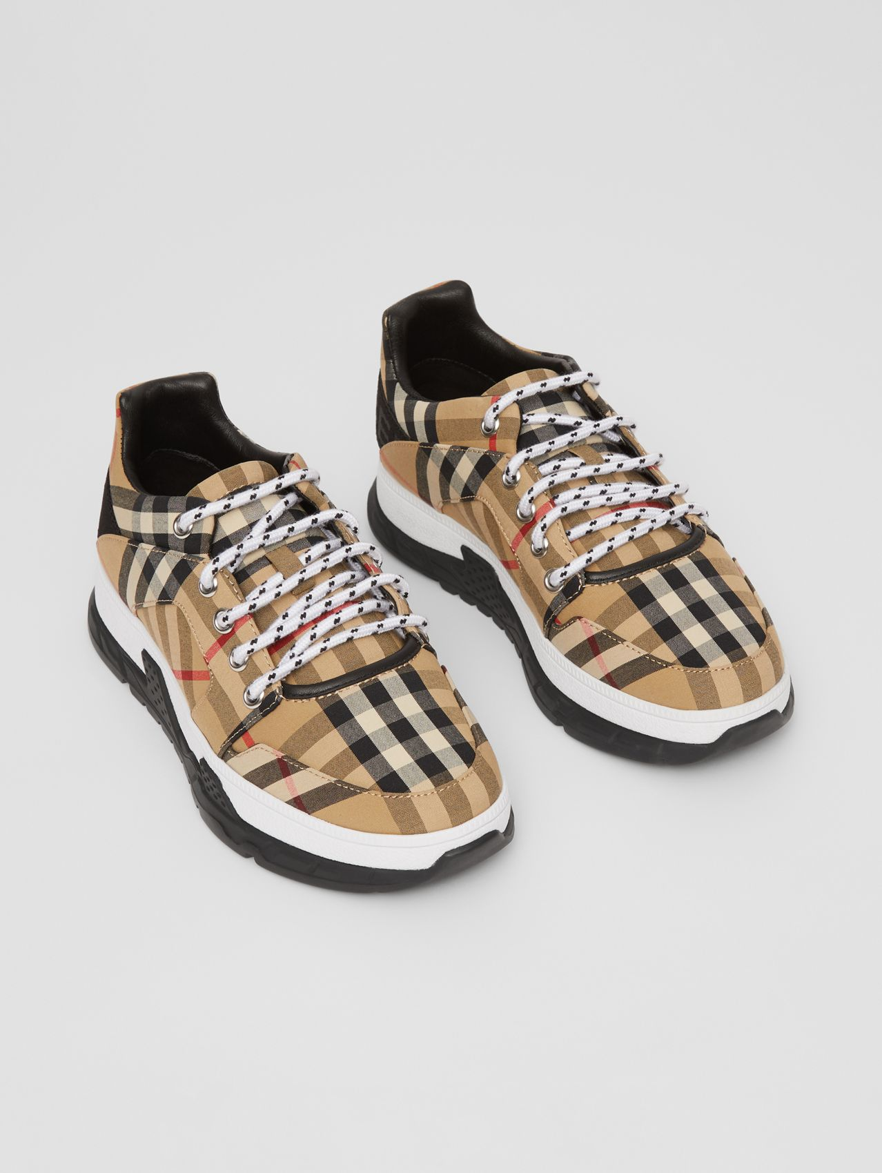 Logo Detail Vintage Check Cotton Sneakers in Archive Beige