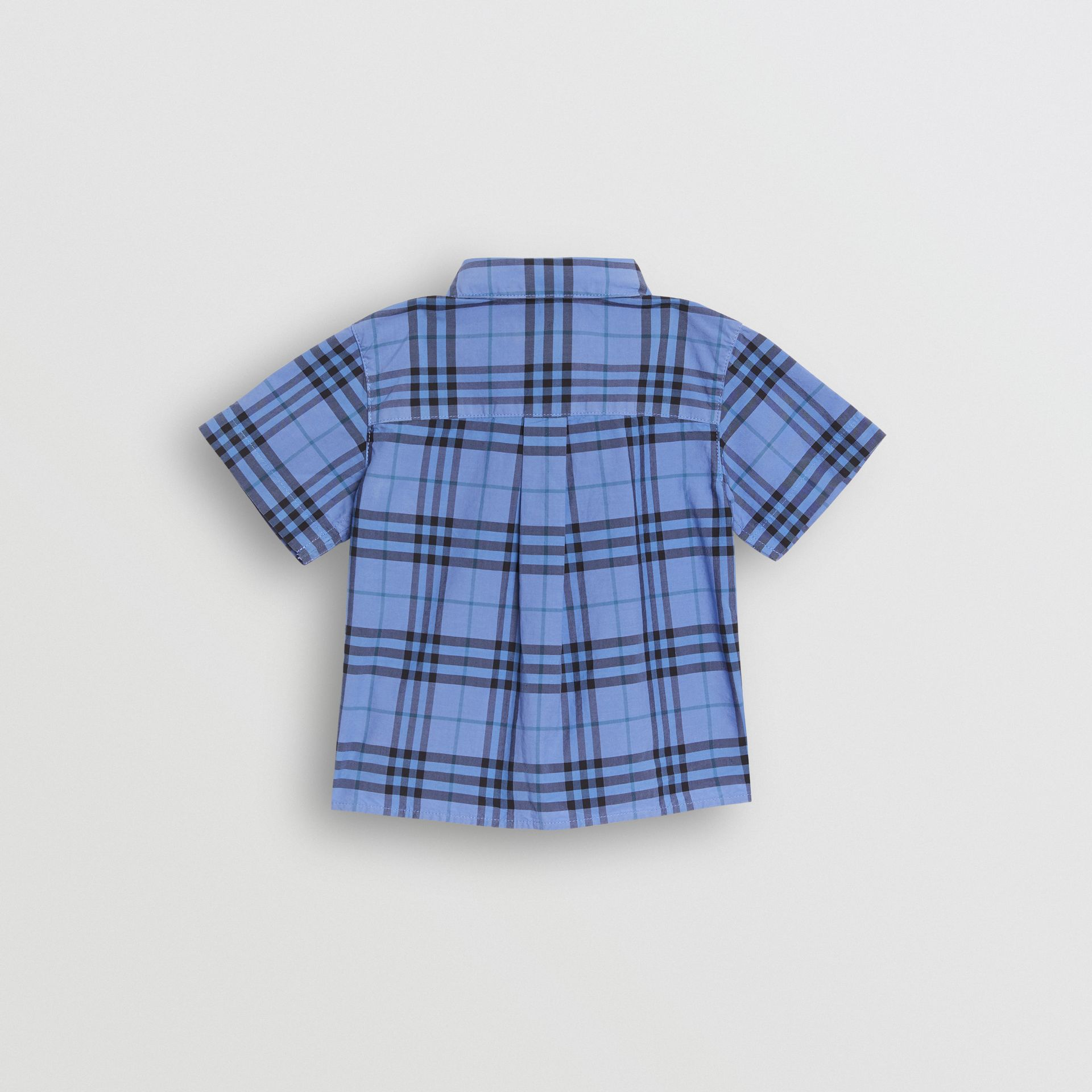 Short-sleeve Check Cotton Shirt in Dusty Blue - Children | Burberry United Kingdom - gallery image 3