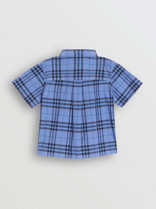 Short-sleeve Check Cotton Shirt in Dusty Blue - Children | Burberry Canada - cell image 3