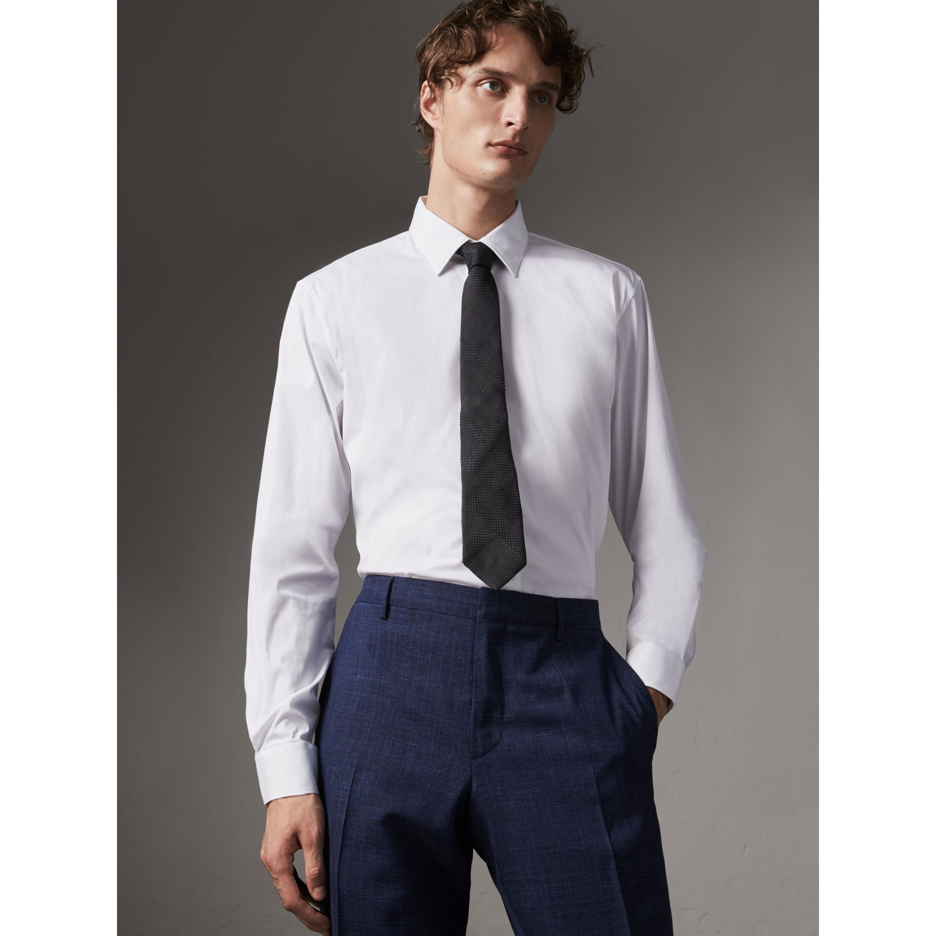 Modern Fit Stretch Cotton Shirt in White - Men | Burberry - gallery image 0